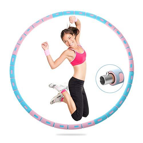 Q-WOOFF Hula Hoop Reifen Erwachsene,Hula Hoop Reifen,Der Abnehmbare 8-Teilige Edelstahlkern Kann Das Gewicht (1,2 Kg Bis 3 Kg), Professioneller Hula Hoop Reifen Für Abnehmen, Fitness, Massage
