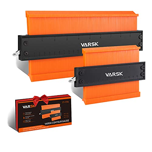 Contour Gauge with Lock, VARSK 2 Pack Widen Shape Duplicator Profile Tool 5' & 10', Master Outline Measuring Plastic Ruler for Corners, Woodworking Templates, Tiles and Laminate, Gifts for Dad Father