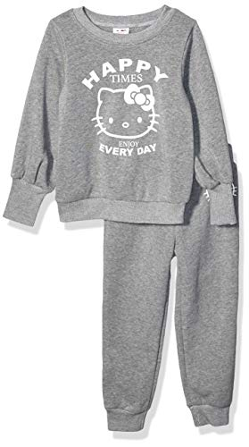 Hello Kitty Baby Girls 2 Piece Sweatshirt and Pant Active Set, Heather Gray, 18M, 18 Months