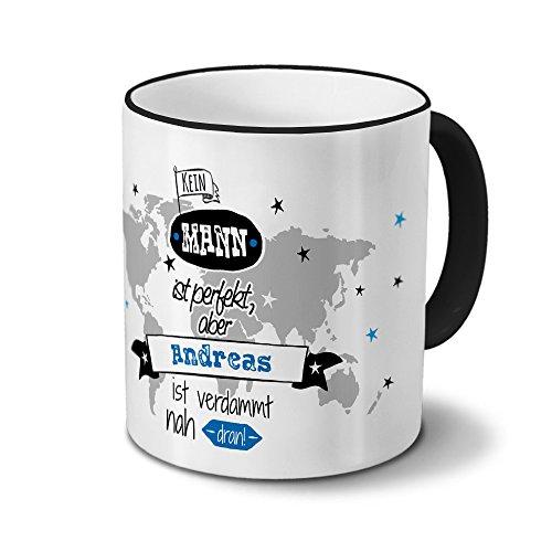 printplanet Tasse mit Namen Andreas - Motiv Nicht Perfekt, Aber. - Namenstasse, Kaffeebecher, Mug, Becher, Kaffeetasse - Farbe Schwarz
