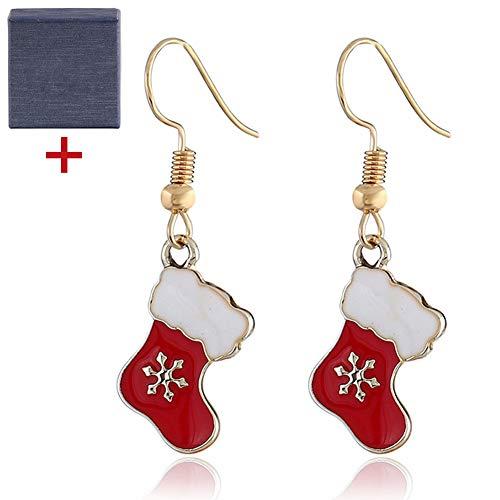 2020 Weihnachtsstrumpf Dekorationen, Weihnachtssocken baumeln Tropfen Ohrringe Anhänger Weihnachtsschmuck Geschenk für Frauen Mädchen