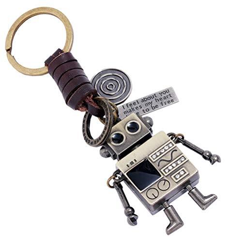 Happyyami Robot Keychain Retro Vintage Movable Lag Arm Figurine Pendant with Carving...
