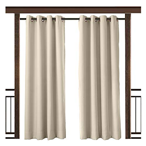 TWOPAGES Beige Outdoor Curtain Waterproof Rustproof Grommet Drape (Set of 2 Panels) 52 W x 84 L Inch, for Front Porch Pergola Cabana Covered Patio Gazebo Dock Beach Home