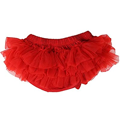 juDanzy Ruffle Chiffon or Satin Tutu All Around Bloomer Diaper Cover (6-24 Months, Red)