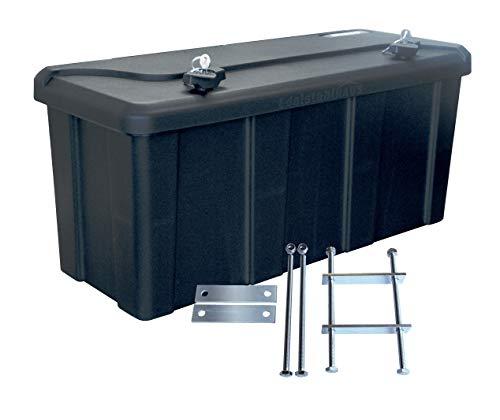 Blackit L - 750 x 300 x 355 mm + Montagesatz MON2012 Edelstahlhaus, Deichselbox mit 2 Schlösser, Werkzeugkasten für Anhänger Staukiste 50 ltr Anhängerbox, Daken B50-2