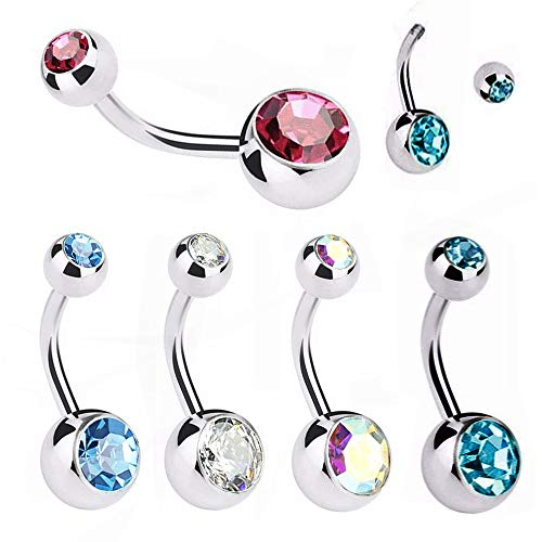 WARRIOR Sterile Piercing Navel Bar with Dangle Cubic Zirconia Curved Body Piercing Surgical Steel 14G (1.6mm) Belly Button Single Piece PDS-08 Jewelry(Rouge,12)