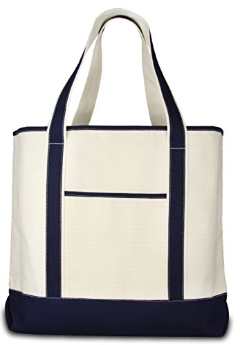 Deluxe Canvas Tote Bag, Navy