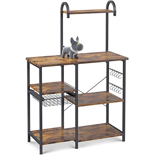 ODK Kitchen Bakers Rack Utility Storage Shelf Microwave Oven Stand 3-Tier+4-Tier Table with 10 S-Shape Hooks for Spice Rack Organizer Workstation Metal Frame, Vintage Brown