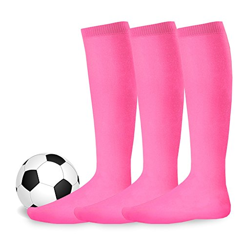 Youth to Adult Unisex Soccer Athletic Sports Team Cushion Socks 3 Pack (Youth (5-7), Hot Pink)