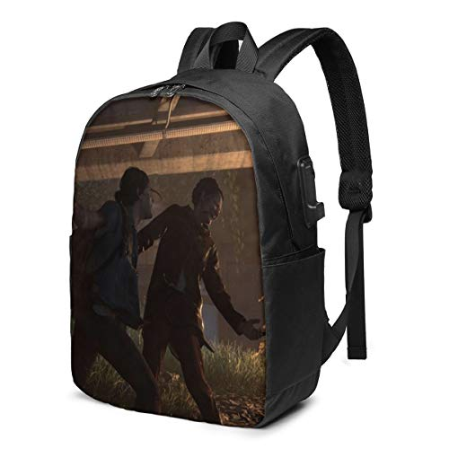 The Last of Us USB Backpack 17 in Unisex Laptop Backpack Travel,Durable Waterproof with USB Charging Port for School College Students Backpack