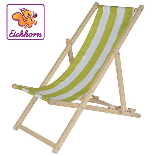 Eichhorn 100004546 - Kinder-Sonnenstuhl, Stoff mit UV-Beschichtung, Sitzbreite 30cm, verstellbar, bis 40 kg belastbar, Buchenholz