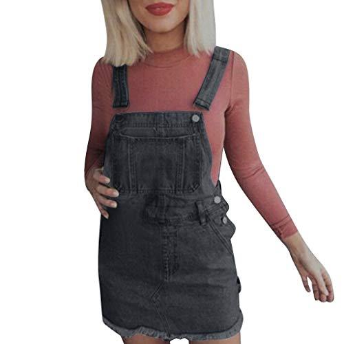 Likecrazy Jeanskleider Damen Denim Minikleid ohne ärmel knielang Latzhose Frauen Kurzes Jeanskleid Bodycon Bleistiftrock Partykleid mit Knopfleiste