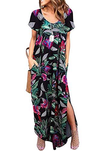 Vestidos Mujer Casual Playa Largos Verano Floral Vestido Boho Hendidura Falda Larga Maxi Vestido Playeros Hoja de XL