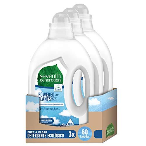 Seventh Generation Free & Clear - Detergente para Ropa para Piel Sensible Hipoalergénico, 3 Paquetes de 20 Lavados