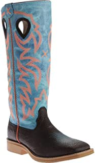 Twisted X Kid's Buckaroo Boot, Color: Brown Distressed/Blue (Ybk0008)