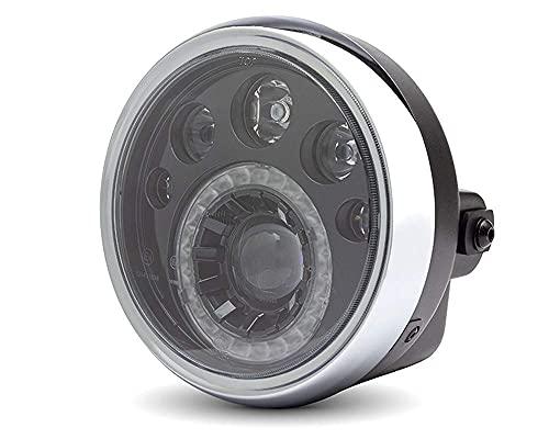 """LED Motos 7"""" Faro - Negro 12V para Retro Café Corredor & Streetfighter Project"""