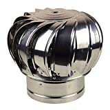 Qianduoduo888 Chimenea Spinner Cowl, Vent Cowl Cap, Spinner De Acero Inoxidable Anti Downdrought Chimeney Cowl Ventilation Pipe Fit Captney Caps and Cowls Air Soffit Vent(Size:110mm)