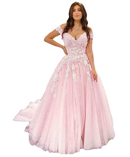 ElenaDressy Women Off Shoulder Wedding Dresses A-Line Evening Party Gown Lace Applique Bridal Dress,Pink 22W