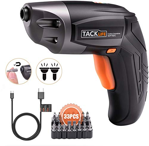 TACKLIFE Cordless Screwdriver, Electric Screwdriver Rechargeable 3.6V 2000mAh Lithium Ion Battery with 33Pcs Free Screw Bits Set,USB Charging with Two...