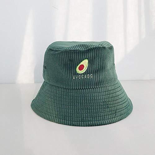 Bucket Hat Chapeau Femmes Avocat À Motifs Broderie Velours Côtelé Seau Chapeau Solide Concis Décontracté Femme Chapeau De Pêcheur Élégant Joker Bassin Bonnet 56-58 Cm Vert