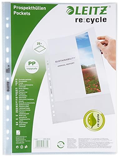 Leitz A4 Prospekthüllen, 25 Stück, Universallochung , Matte Oberfläche, 100 Mikron Folienstärke, 100% recyclebar, Umweltfreundlich, Recycle-Serie, Farblos, 47913003