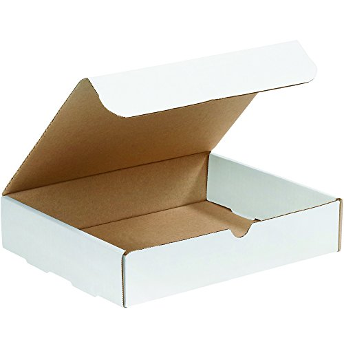 Boxes Fast BFM1182D Corrugated Cardboard Literature Mailers, 11 1/8 x 8 3/4 x 2 5/16 Inches, Tuck Top One-Piece, Die-Cut Shipping Boxes, Large White Mailing Boxes (Pack of 50)
