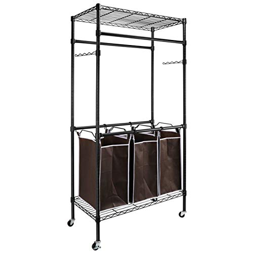 Heavy-Duty Sorting Hamper Commercial Grade Clothes Rack Utility Storage Organizer Racks for Home Bathroom