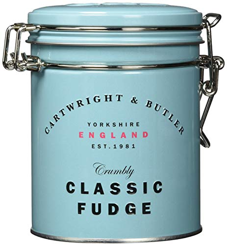 Cartwright & Butler Salted Caramel Fudge, blue tin, Weichkaramell mit Butter und Meersalz, blaue Dose, 1er Pack (1 x )