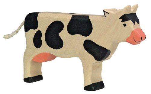 Holztiger Kuh, stehend, schwarz, 80003