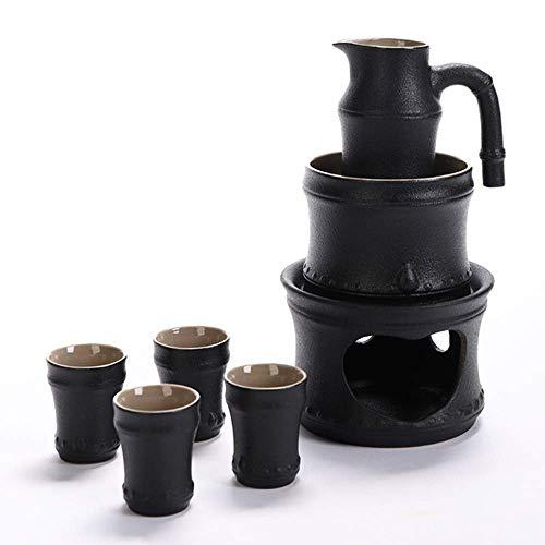 7-teiliges Sake-Set, schwarz glasiertes Bambus-Festival-Sake-Set mit wärmerem Topf und Kerzenherd, Sake-Serving-Geschenkset mit Verbrühungsgriff für Kalt- / Warm- / Shochu- / Tee-Kombinationssets