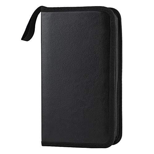 COOFIT CD Tasche 80 Schwarze: CDs Aufbewahrung Box Organizer für Discs CD DVD Blu-ray Case PU Wasserdicht Staubdicht Mappe Platzsparend für Auto und Zuhause Transport Hüllen
