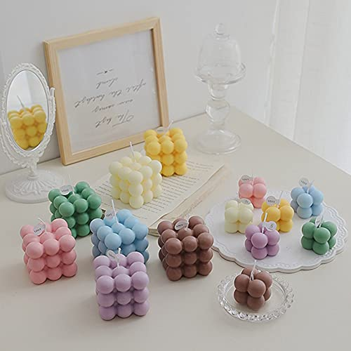 XIANWEI Velas Perfumadas Bubble Cube Cube Conjunto De Velas, Linda Geometría Cubo Cera Fragancia Vela, Cubo 3D Con Forma De Vela Hogar Decoración De La Fragancia Vela Cumpleaños Regalo Dormitorio Deta