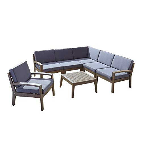 Great Deal Furniture Amaryllis Outdoor Acacia Wood 6 Seater Sectional Sofa and Club Chair Set with Coffee Table, Gray and Dark Gray