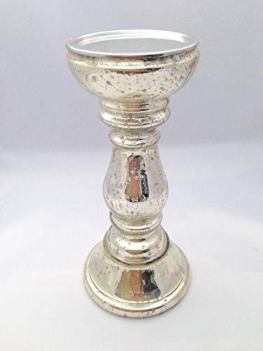Florissima Kerzenhalter Bauernsilber Stumpenkerzen 11x23cm Glas Weihnachten Tischdeko Weihnachtsdeko Kerzenständer
