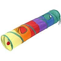 SODIAL 猫のトンネル ペットチューブ 折りたたみ式の遊ぶおもちゃ 屋内屋外キティ子犬のおもちゃ パズル練習隠す訓練ランニングのため面白いボールと2つのピークホール付き