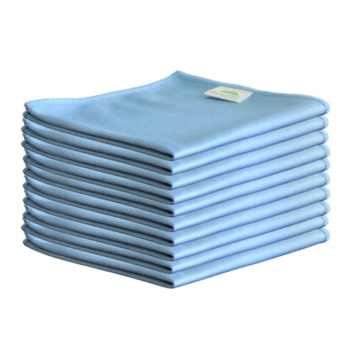 10 x Microfibre Glass Cloths 36x36cm, Lint Free and Ultra Fine Cleaning Cloths for Windows and Glass.