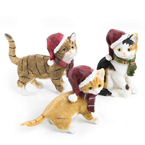 Logbuch-Verlag 3 kleine Katzen Dekofiguren aus Kunststein - weihnachtliche Katzenfiguren als Weihnachtsdeko - Geschenk für Katzenliebhaber