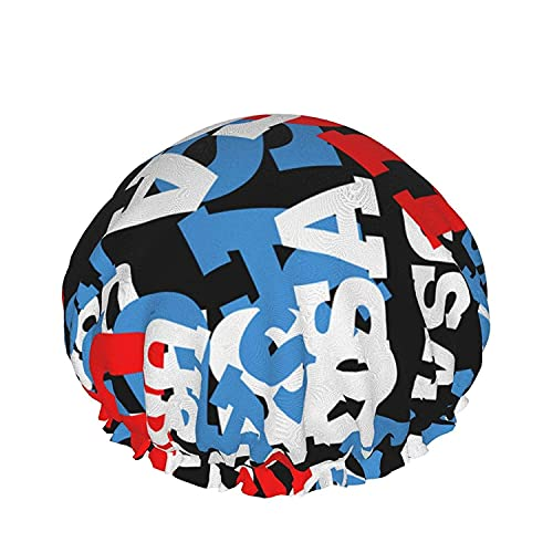 Double Layers Shower Cap,USA Style Background Painted On Grunge Wall,Reusable Waterproof Elastic Bath Caps for All Hair Lengths-style09-1pcs