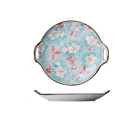 yywl Plato de Cena Cerámica de Estilo japonés Plato de Ensalada Sushi Steak EMPLATAR Flor Azul Salsa Plato Vajilla (Color : 10.4inch)
