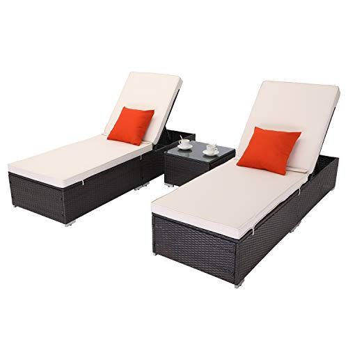 Do4U 3 Pcs Outdoor Chaise Lounge PE Wicker Reclining Chair with Cushions Furniture Set Patio Lounge Chair Adjustable Backrest Recliners for Outdoor Patio Beach Pool Backyard (Beige)