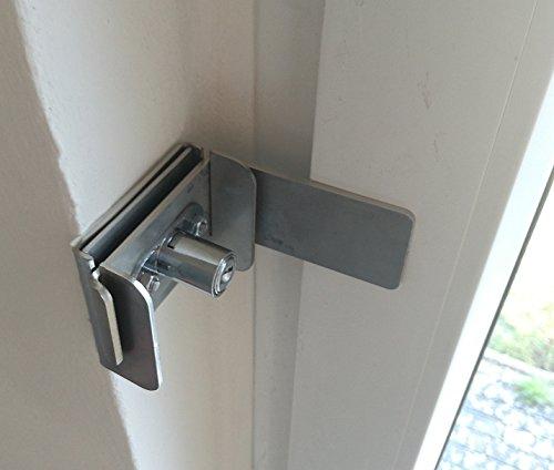 Fenstersicherung Türsicherung aus Edelstahl massiv abschließbar