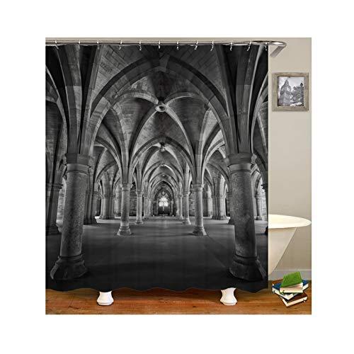 Knbob Polyester Duschvorhang Kirchenhalle Badewanne Vorhang 180x200CM mit 12 Duschvorhangringen