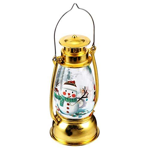 Uonlytech Weihnachten Dekorative Laternen Beleuchtet Schneemann Schneekugel Nachtlampe Krippe Hängende Lichter für Urlaub Baum Wohnkultur Golden