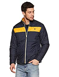 House & Shields Clothing Co. Mens Quilted Jacket (AW18-ID-AW06b_Carbon Navy & Yellow_Large)