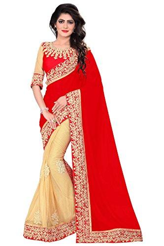 Indian Sari Fashion Women's Saree with Unstitch Blouse Piece (red)