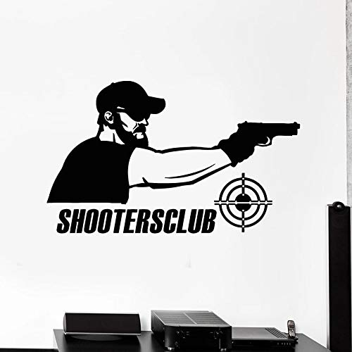 WERWN Shooter Target Tatuajes de Pared Shooter Club Gun Campo de Tiro decoración de Interiores Letrero Ventana Vinilo Pegatina Casual Deportes Papel Tapiz
