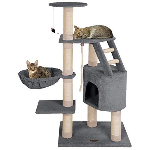Happypet® Kratzbaum für Katzen mittelgroß 120 cm hoch, Kletterbaum Katzenbaum, CAT017-4 stabile Säulen mit Natur-Sisal ca. 8cm Durchmesser, Liegemulde, Haus, Treppe, Aussichtsplattform, Grau