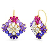 Steve Madden Yellow Gold Tone Purple and Pink Floral Cluster Design Statement Earrings For Women