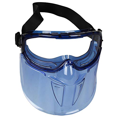 KleenGuard™ V90 Shield Safety Goggles with Face Shield (18629), Anti-Fog, Scratch-Resistant and Clear Lens with Blue Frame from Kimberly Clark
