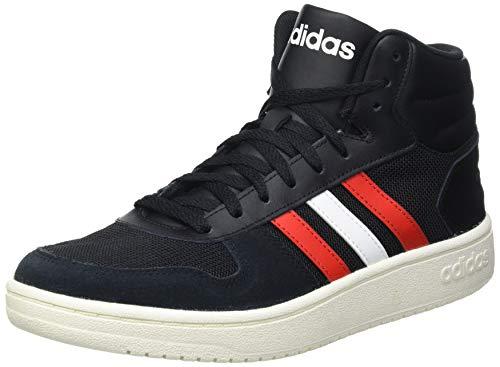 adidas Hoops 2.0 Mid, Basketball Shoe Hombre, Core Black/Vivid Red/Footwear White, 40 EU